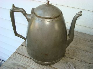 Early Antique Coffee Pot Ovoid Shape Decorated And Make Do Repairs photo