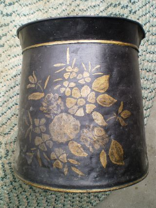 Antique 19th C Paint Decorated Large Coal Skuttle Tin Bucket Toleware photo