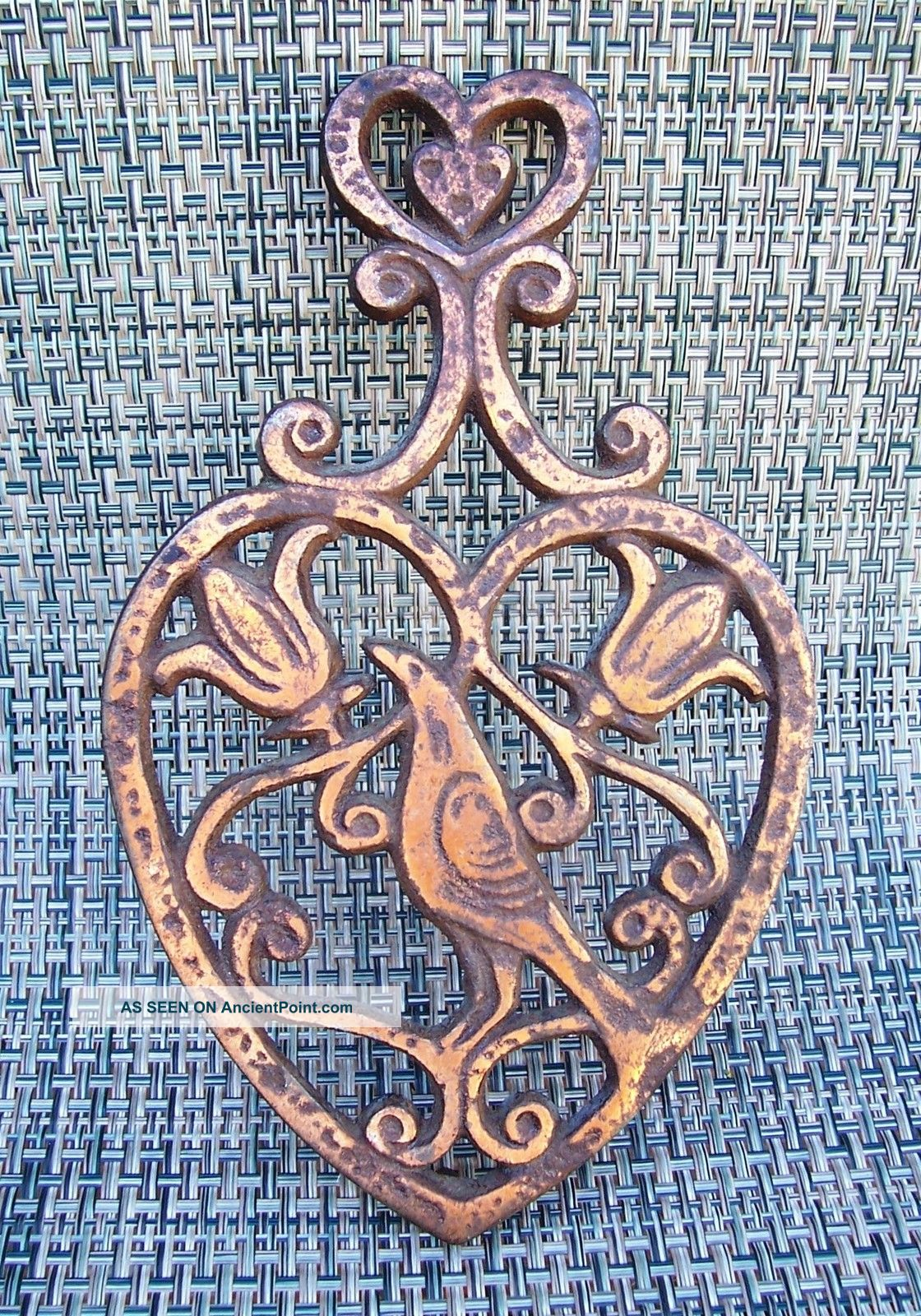 Antique Tri - Footed Copper Layered Trivet ~ Bird / Floral Trivets photo