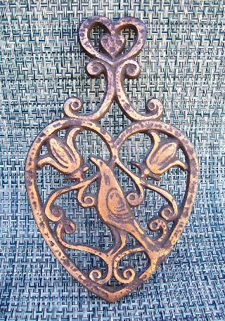 Antique Tri - Footed Copper Layered Trivet ~ Bird / Floral photo