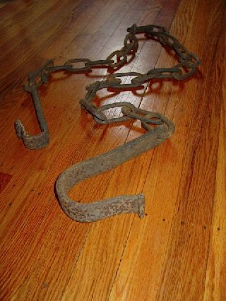 Primitive 18thc Antique Wrought Iron Hearth Chain Trammel Aafa Blacksmith Forged photo