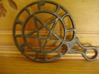 Antique Trivet Black Wrought Iron Star Design Very Good Condition photo