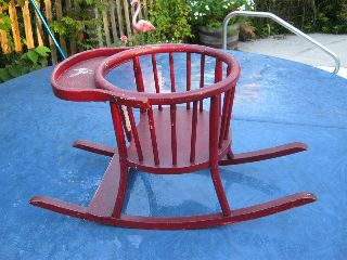 Adorable Antique Wooden Tot Tender Phoenix Chair Co Sheboygan Wi Red photo
