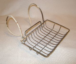 Old Vintage Antique Metal Wire Soap Holder Basket For Bathtub Tub / Sink / Steel photo