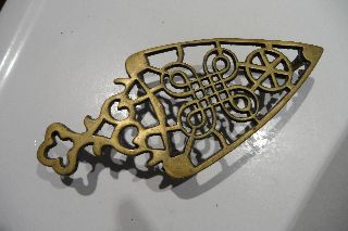 Vintage Brass Trivet Three Footed Good Design photo