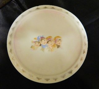 Antique Round Porcelain/ironstone Tea Tile 4 Children ' S Faces Kpm Germany photo