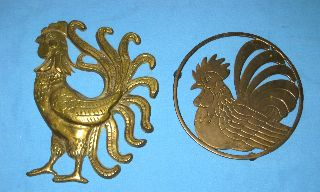 Lot 2 Vtg/antique Solid Brass Rooster/hen/chicken Trivet & Wall Plaque photo