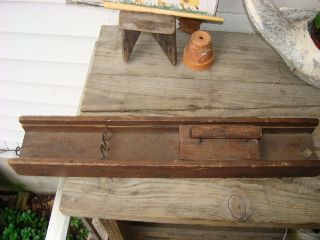 Antique Wood Kitchen Slicer Vegetable Slicer Push Box Blades Patina C: 1800 ' S photo