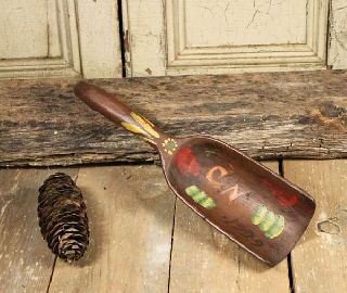 Old Wooden Scoop Old Paint Dated 1929 photo