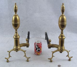 Antique 19c Pair Brass & Iron Lemon Top Andirons photo
