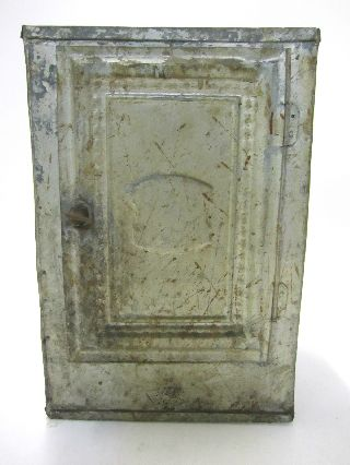 Antique Early American Pie Safe Industrial Stamped Galvanized Tin Tea Cabinet photo