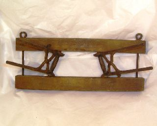 Vintage Or Antique Wood And Iron Hat Or Coat Rack C7 photo