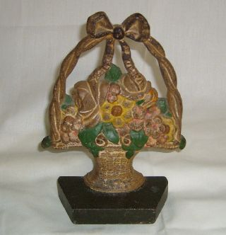 Antique Greenblatt Studios 36 Hand Painted Basket Of Flowers Cast Iron Doorstop photo