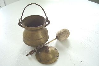 Antique Solid Brass Covered Footed Handled Pot W Plug photo