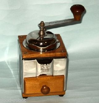 Vintage High Quality Wood And Stainless Steel Italian B.  G.  Coffee Grinder 30s photo
