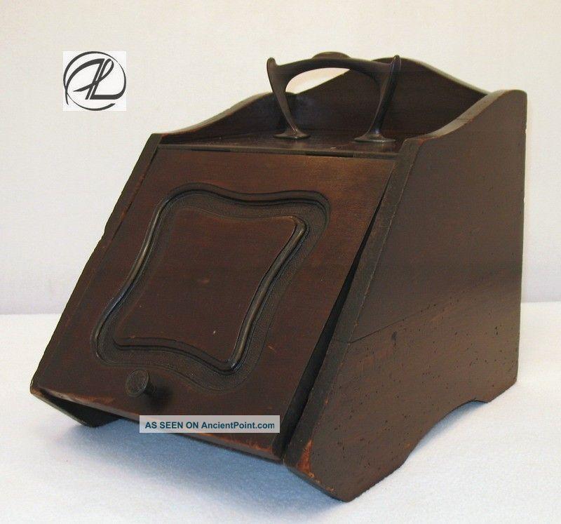 Antique Coal Shuttle Vintage Ash Bucket Wood Tin Insert Shovel Heavy Complete Hearth Ware photo