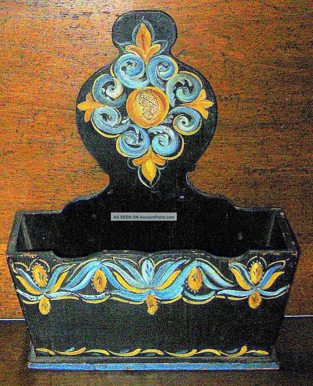 Primitive Antique~hand Painted Pennsylvania Dutch/german Wood Kindling Box Hearth Ware photo