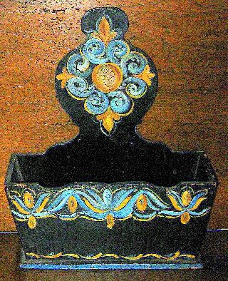Primitive Antique~hand Painted Pennsylvania Dutch/german Wood Kindling Box photo