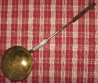 18th Cent.  Americana Brass & Steel Ladle Inlaid Brass Initials Possibly Penn. photo
