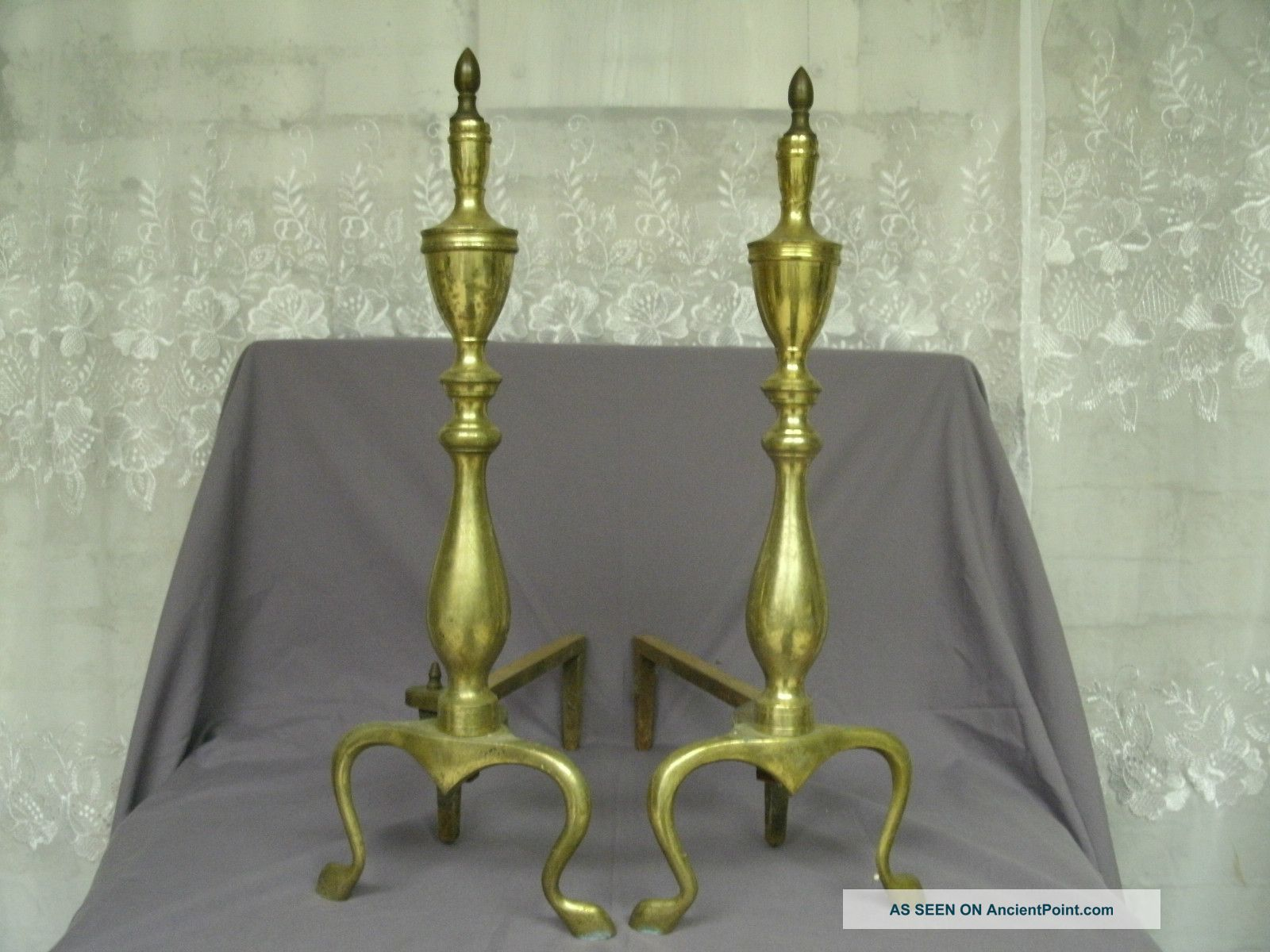 Antique Brass Andirons Hearth Ware photo