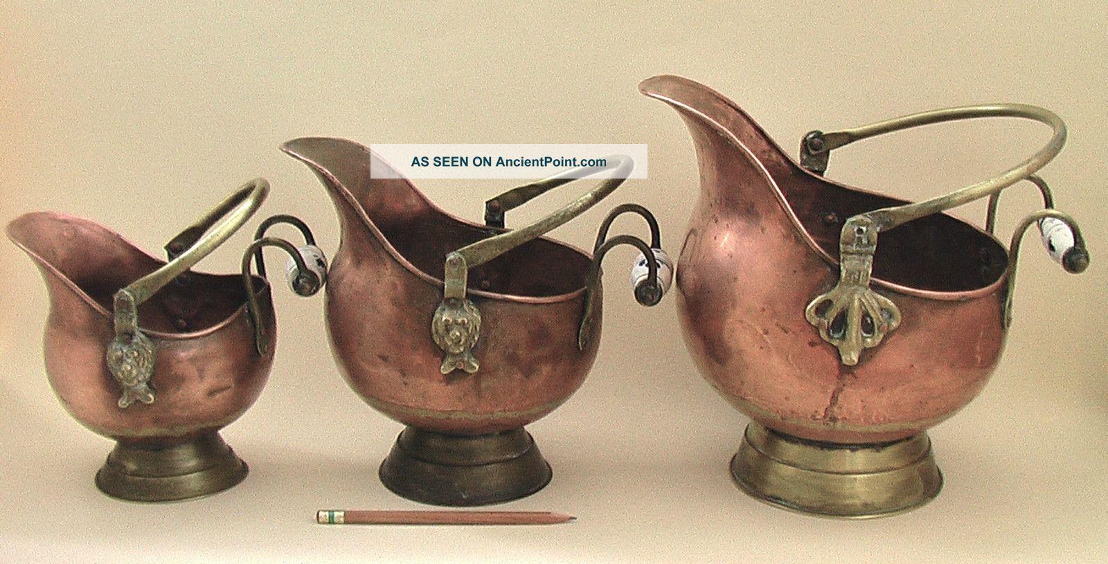 3 Vtg French Copper Coal Scuttle Delft Blue Ceramic Handle Lion Head Bucket Pail Hearth Ware photo