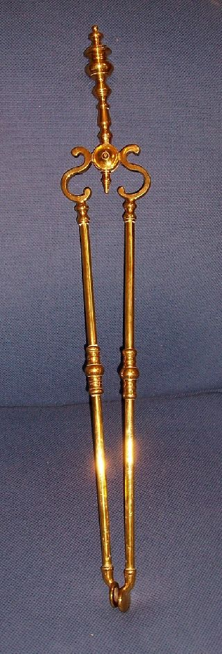 Antique Solid Brass Fireplace Tongs photo