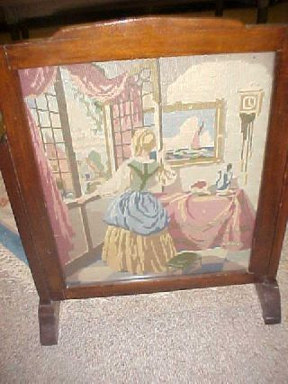 Antique British Needlepoint Firescreen photo