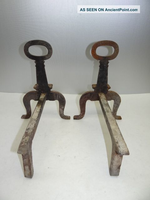 Antique Metal Cast Iron & Iron Unmarked Small Fireplace Log Holders Hardware A5 Hearth Ware photo