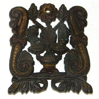 Vintage 1950 Jzh Cast Iron Floral Scroll Primitive Trivet 4 - Footed photo