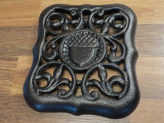Kitchen Cook Stove Plate Old Cast Iron Antique Acorn Trivet Restored Finish photo