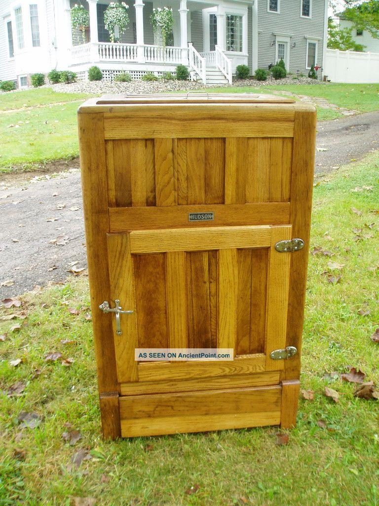 Sweet Large Antique Hudson Oak Ice Box Ready To Display And Enjoy Ice Boxes photo