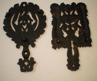 Two 2 Vintage Trivets Black Cast Iron Eagle Grape Hot Plate photo