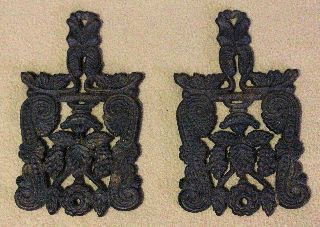 1950 Vintage Pair Of Ornate Footed J Z H 8 Hot Plate Trivets photo