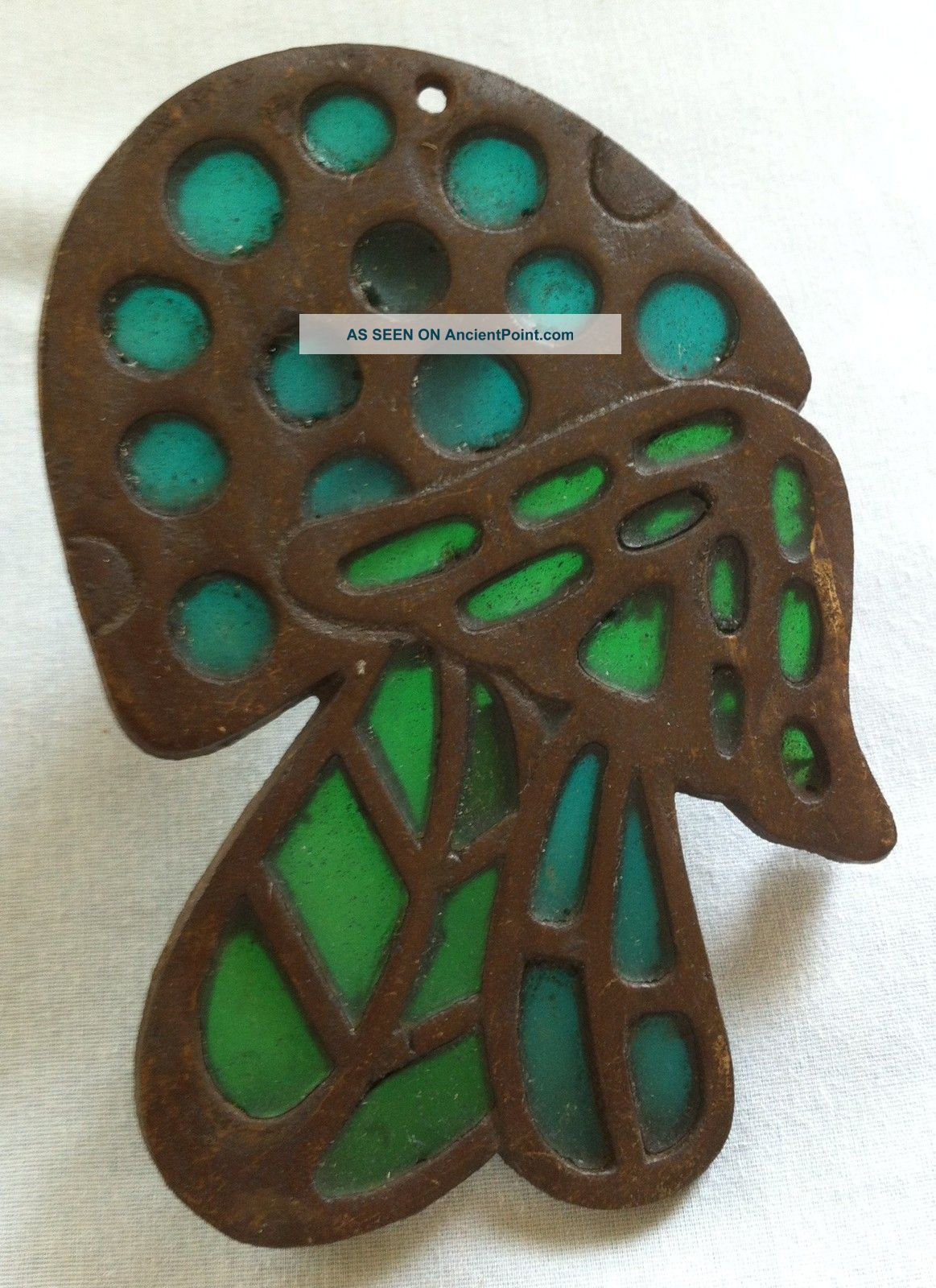 70 ' S Stained Glass Mushroom Trivet (blue & Green Glass) Art Deco Design Trivets photo