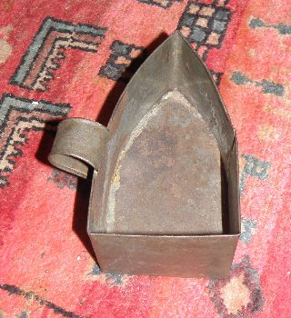 Rare Antique Maine Farm House Tin Sad Iron Trivet Sad Iron Holder Handcrafted photo