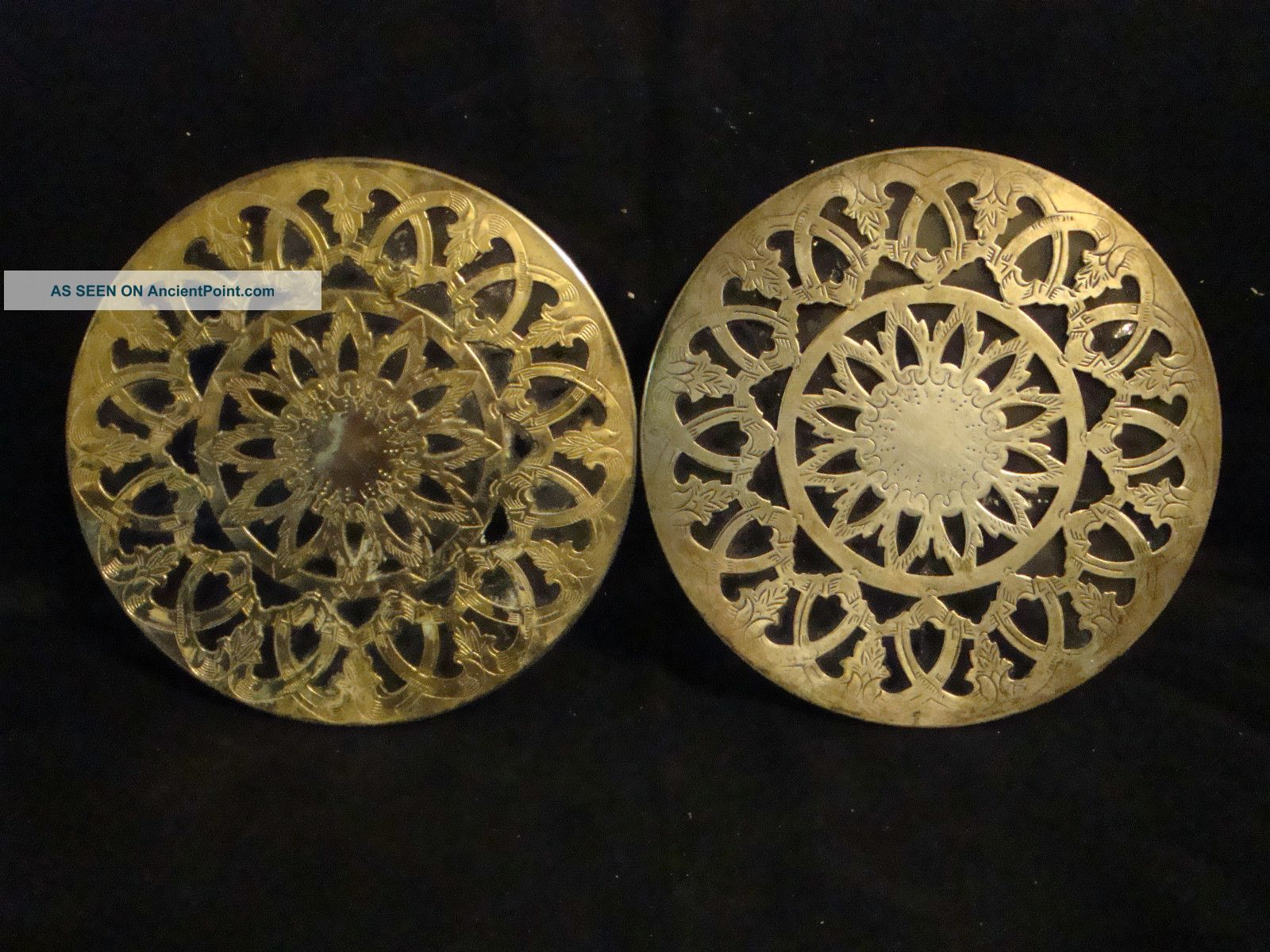 Unsigned Pair Brass Trivet/ Hot Pad W/ Glass Backs Trivets photo