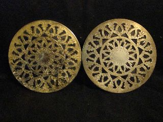 Unsigned Pair Brass Trivet/ Hot Pad W/ Glass Backs photo