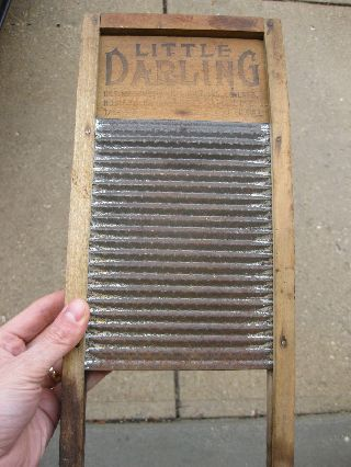 Antique Little Darling National Advertising Wood Washboard Company Chicago Memph photo