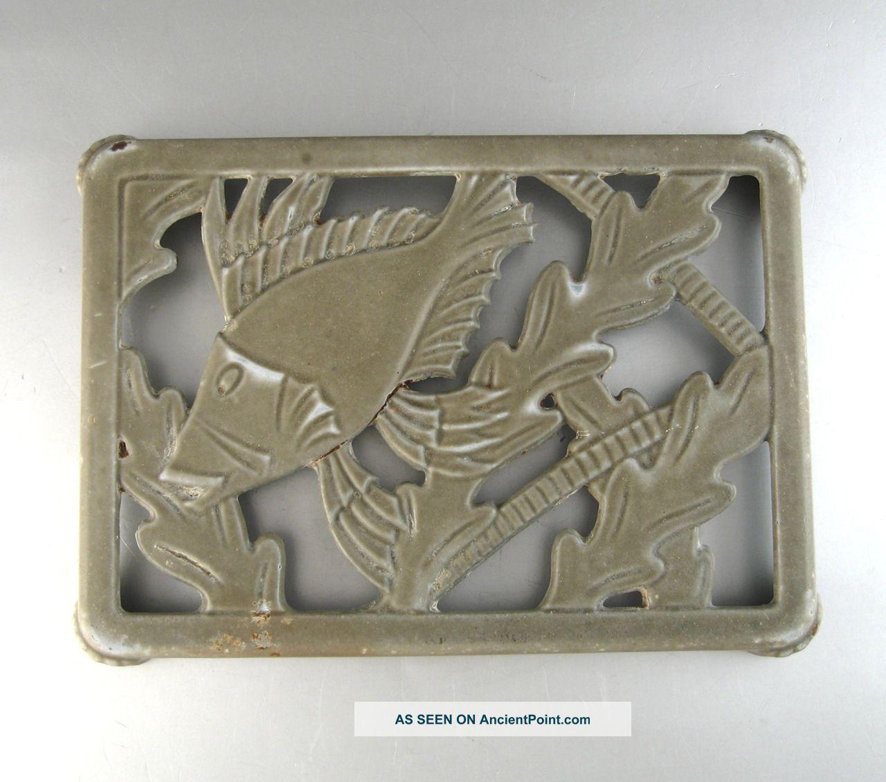 Vintage Frenchenamel Cast Iron Trivet,  Fish Trivets photo