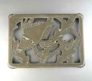 Vintage Frenchenamel Cast Iron Trivet,  Fish photo
