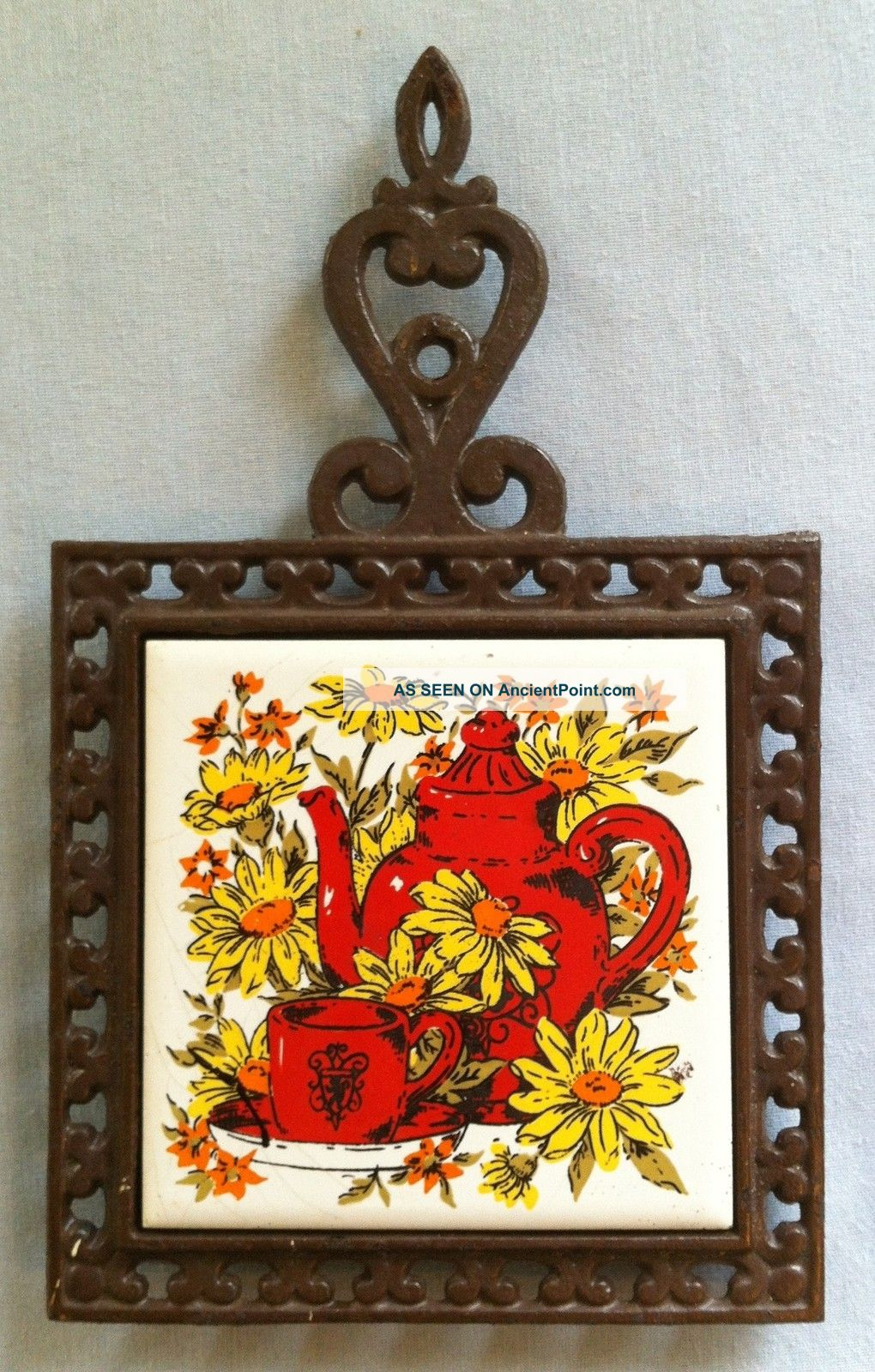 Vintage Cast Iron Tile Trivet (hd E) Teapot & Sunflower Design Trivets photo