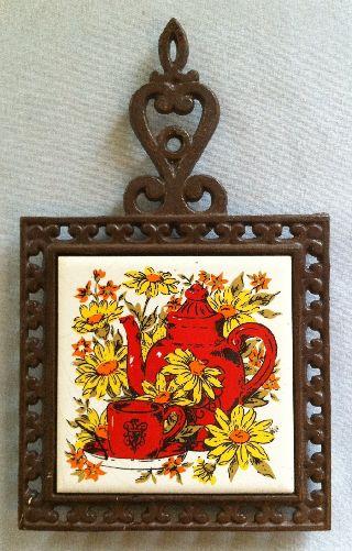 Vintage Cast Iron Tile Trivet (hd E) Teapot & Sunflower Design photo