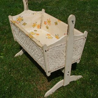 Vintage Wicker And Wood Baby Cradle Rocking - By Badger Basket Co. photo