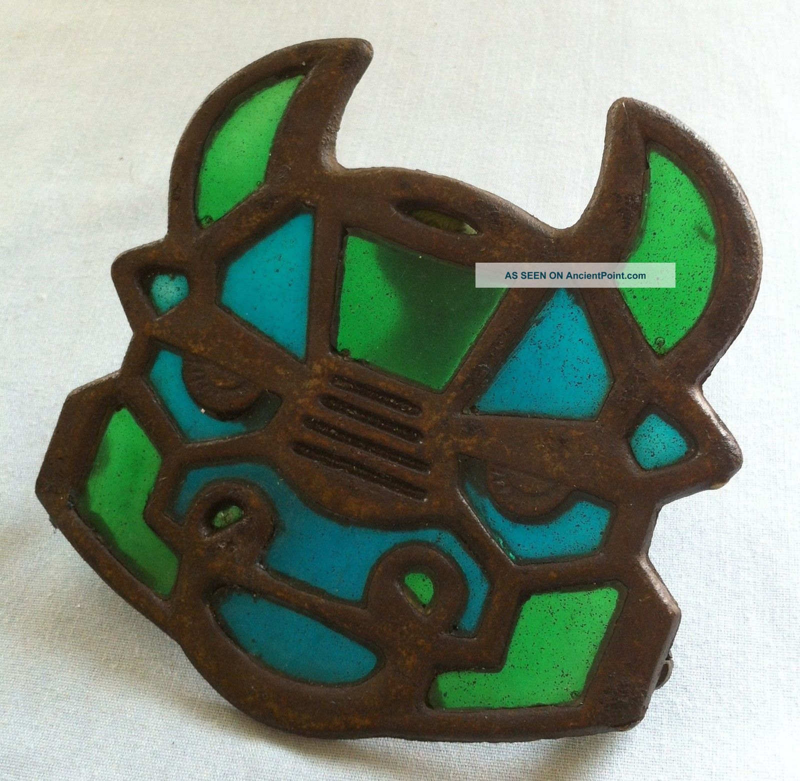 70 ' S Stained Glass Bull Trivet (blue & Green Glass) Art Deco Design Trivets photo