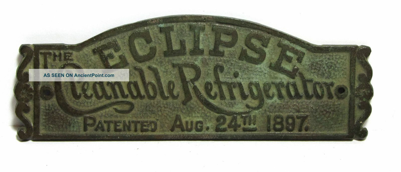Great Antique The Eclipse Cleanable Refrigerator Aug 24th 1897 Brass Plaque Ice Boxes photo