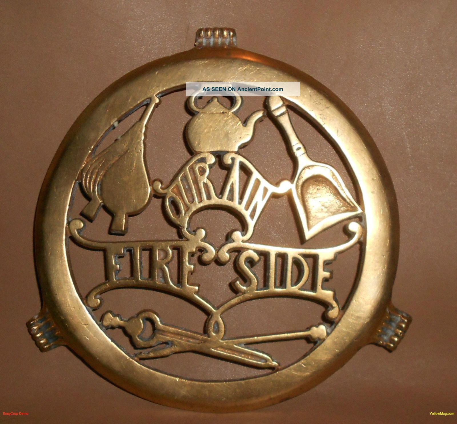 Scottish Brass Victorian Fire Side Our Ain Fireplace Trivet Greenlees Glasgow Trivets photo