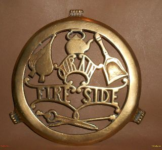 Scottish Brass Victorian Fire Side Our Ain Fireplace Trivet Greenlees Glasgow photo