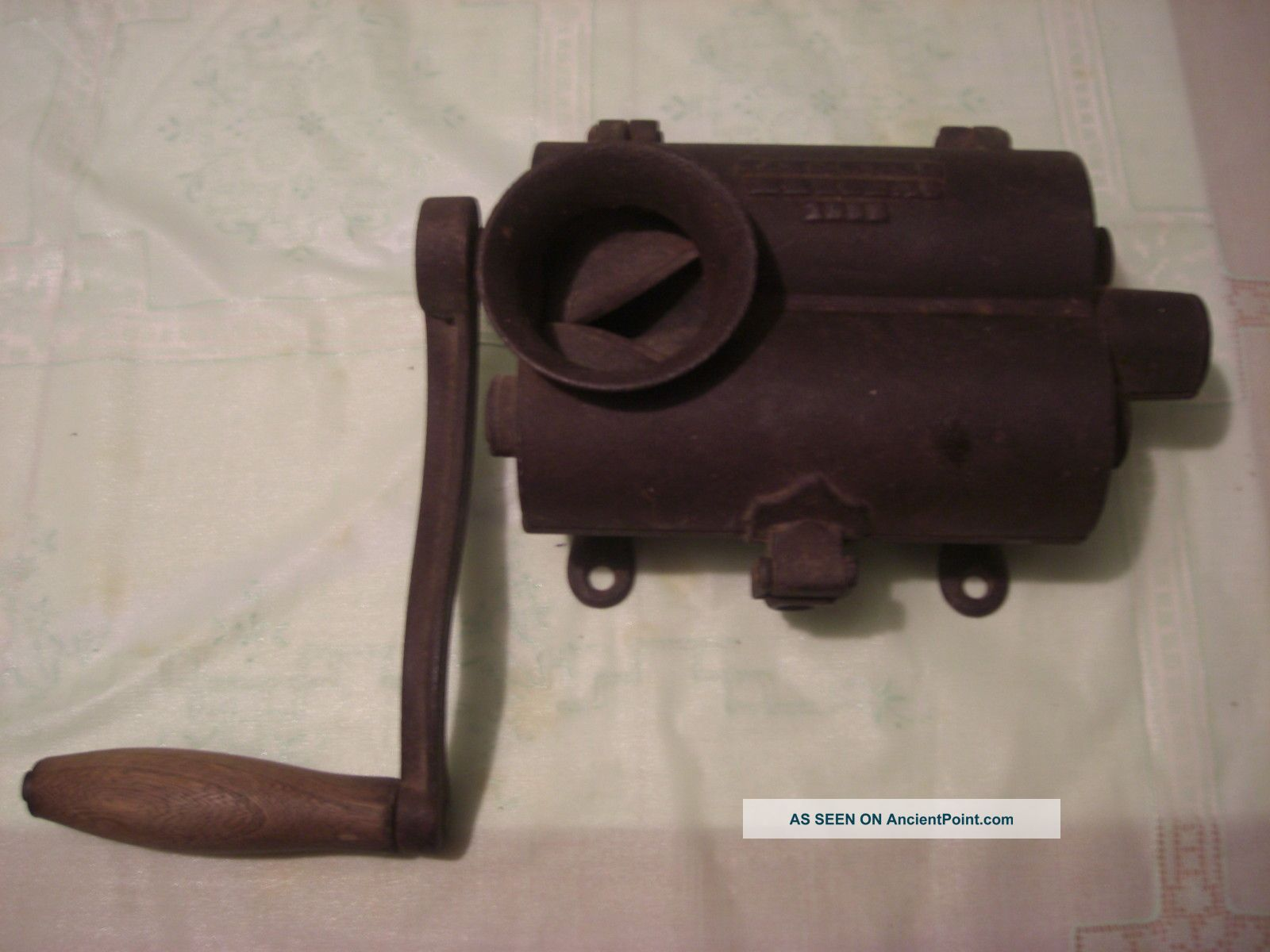 Antique Patent 1858 Cast Iron Sausage Stuffer Press From Estate Meat Grinders photo