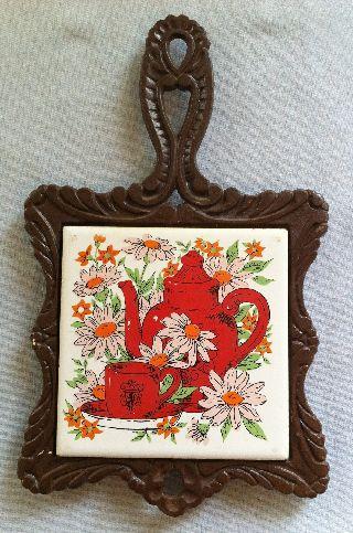 Vintage Cast Iron Tile Trivet (7 Seven Star) Teapot & Sunflower Design photo