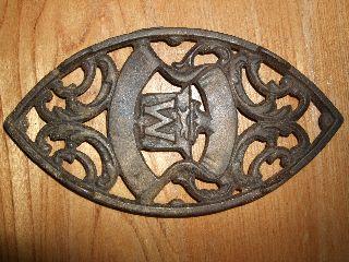 Antique Oval Cast Iron Trivet Sad Letter M W Handle Vintage Primitive Vtg Rustic photo